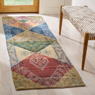 Amanda Hand-Loomed Red/Blue/Beige Area Rug Rug Size: Runner 2'3