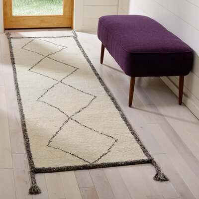 Betances Hand-Woven Wool Ivory Area Rug Rug Size: Runner 23 x 8