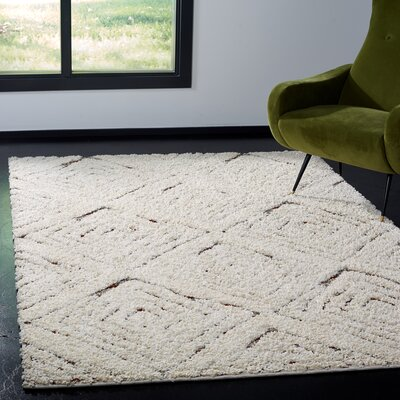 Chou Shag Cream Area Rug Rug Size: Rectangle 9 x 12