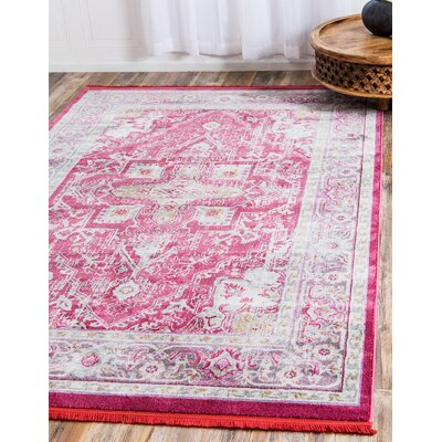 Lonerock European Pink Area Rug Rug Size: Rectangle 55 x 8
