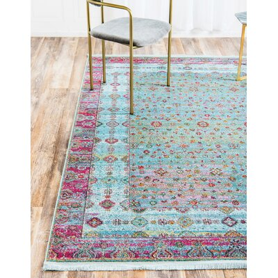 Lonerock European Pink/Teal Area Rug Rug Size: Rectangle 84 x 10