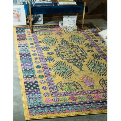 Iris Gold Area Rug Rug Size: Rectangle 7 x 10