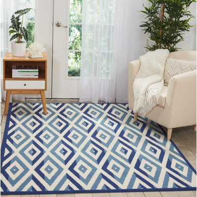Burnie White/Blue Area Rug Rug Size: Rectangle�53 x 73