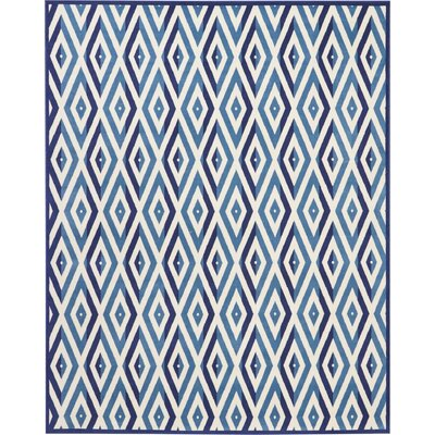 Burnie White/Blue Area Rug Rug Size: Rectangle�710 x 910