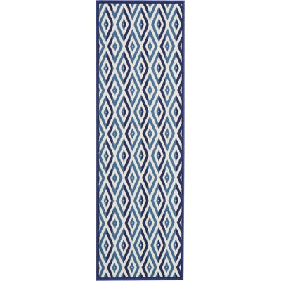 Burnie White/Blue Area Rug Rug Size: Runner 23 x 76