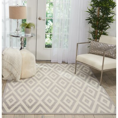 Burnie White/Gray Indoor Area Rug Rug Size: Rectangle�53 x 73