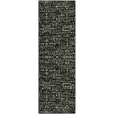 Crossland Black/Green Area Rug Rug Size: Runner 27 x 8