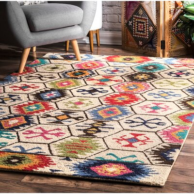 Toubqal Hand-Tufted Beige Area Rug Rug Size: Rectangle 76 x 96