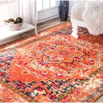 Seshadri Orange Area Rug Rug Size: Rectangle 53 x 77