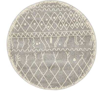 Foxhill Gray Area Rug Rug Size: Round 3