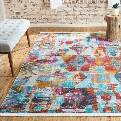 Yearsley Red/Beige/Blue Area Rug Rug Size: Round 55 x 55