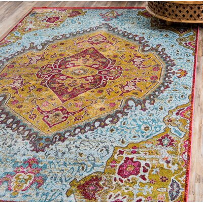 Lonerock Yellow/Red Area Rug Rug Size: Rectangle 55 x 8