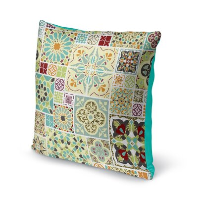 Chrisman Tile Throw Pillow Color: Green/Blue/Orange/Red/Maroon/Gold, Size: 16 x 16