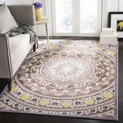 Elana Purple/Cream Area Rug Rug Size: Rectangle 51 x 76