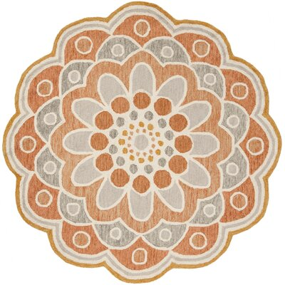 Coral Springs Hand Hooked Wool Orange Area Rug� Rug Size: Round 5