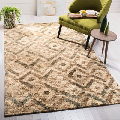Pinehurst Contemporary Hand-Knotted Beige/Brown Area Rug Rug Size: Rectangle 5 x 8
