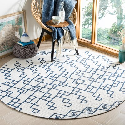 Owen Hand-Loomed Cotton Ivory Area Rug Rug Size: Round 6