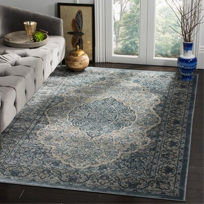 Goshen Gray/Blue Area Rug Rug Size: Rectangle 53 x 76