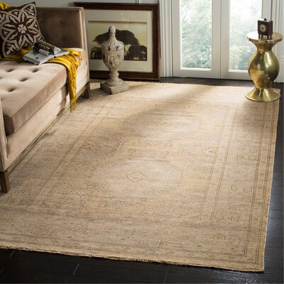 Kline Hand-Knotted Wool Gold Area Rug Rug Size: Rectangle 6 x 9