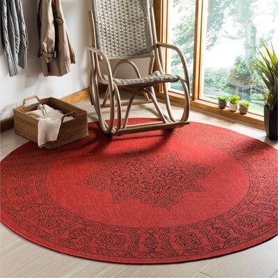 Amedee Red Indoor/Ourdoor Area Rug Rug Size: Round 67