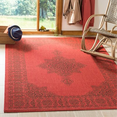 Amedee Red Indoor/Ourdoor Area Rug Rug Size: Rectangle 53 x 77