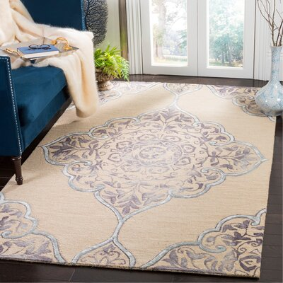 Brennan Hand-Tufted Wool Beige Area Rug Rug Size: Rectangle 5 x 8