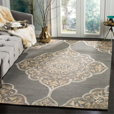 Brennan Hand-Tufted Wool Slate Area Rug Rug Size: Rectangle 5 x 8