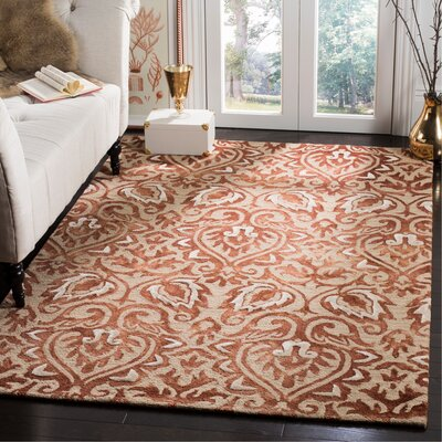 Brennan Hand-Tufted Wool Copper Area Rug Rug Size: Rectangle 5 x 8