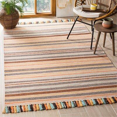 Trenton Hand-Woven Cotton Beige Area Rug Rug Size: Rectangle 5 x 8