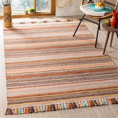 Trenton Hand-Woven Cotton Brown Area Rug Rug Size: Rectangle 5 x 8