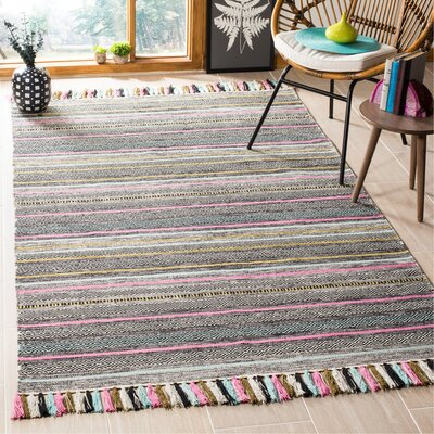 Trenton Hand-Woven Cotton Black Area Rug Rug Size: Rectangle 5 x 8