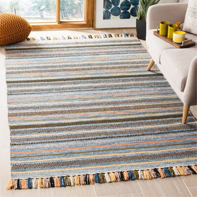 Trenton Hand-Woven Cotton Blue Area Rug Rug Size: Rectangle 5 x 8