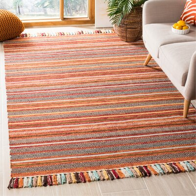 Trenton Hand-Woven Cotton Rust Area Rug Rug Size: Rectangle 5 x 8