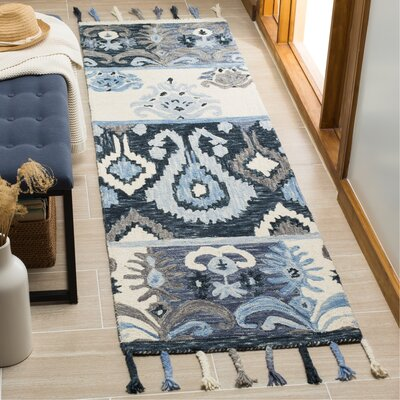 Niederanven Hand Knotted Wool Blue Area Rug Rug Size: Runner 23 x 8