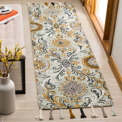 Tomo Hand-Hooked Wool Light Green/Ivory Area Rug Rug Size: Runner 23 x 8