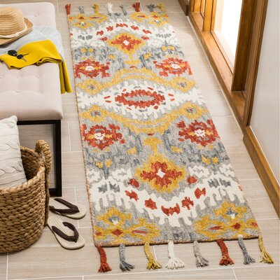 Niederanven Hand Tufted Wool Gray/Yellow Area Rug Rug Size: Runner 23 x 8