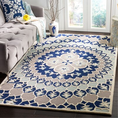 Bellagio Hand-Tufted Wool Blue/Ivory Area Rug Rug Size: Rectangle 5 x 8