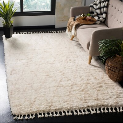 Cosima Hand-Knotted Ivory/Beige Area Rug Rug Size: Rectangle 5 x 8