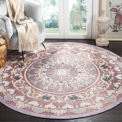 Elana Purple/Cream Area Rug Rug Size: Round 67