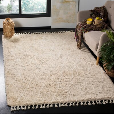 Cosima Hand-Knotted Beige/Ivory Area Rug Rug Size: Rectangle 5 x 8