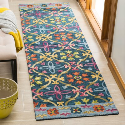 Talmo Hand Hooked Wool Blue/Yellow Area Rug Rug Size: Runner 23 x 8