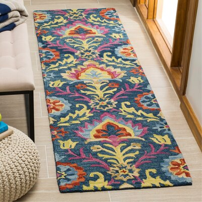 Talmo Bohemian Hand Hooked Wool Blue/Yellow Area Rug Rug Size: Runner 23 x 8