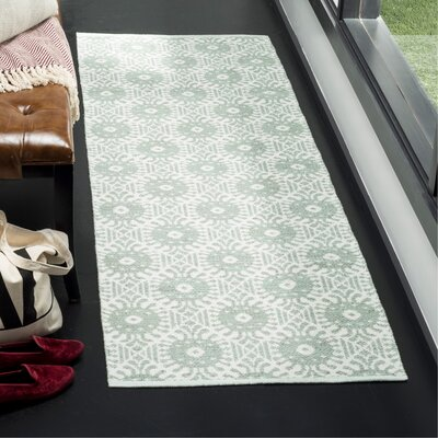 Clemence Hand-Woven Light Green/Ivory Area Rug Rug Size: Runner 23 x 7