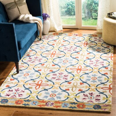 Talmo Hand Hooked Wool Ivory/Blue Area Rug Rug Size: Rectangle 5 x 8