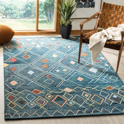 Talmo Hand Hooked Wool Dark Blue/Yellow Area Rug Rug Size: Rectangle 5 x 8