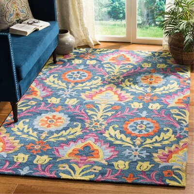 Talmo Bohemian Hand Hooked Wool Blue/Yellow Area Rug Rug Size: Rectangle 5 x 8