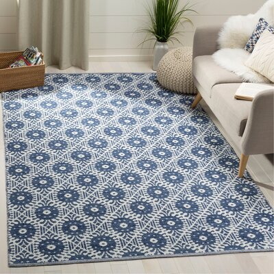 Clemence Hand-Woven Navy/Ivory Area Rug Rug Size: Rectangle 5 x 8