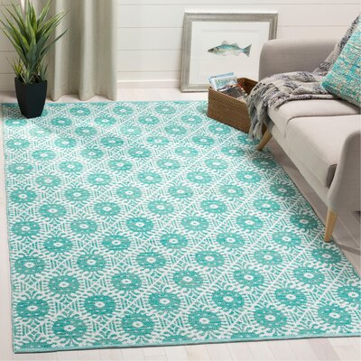 Clemence Hand-Woven Aqua/Ivory Area Rug Rug Size: Rectangle 5 x 8