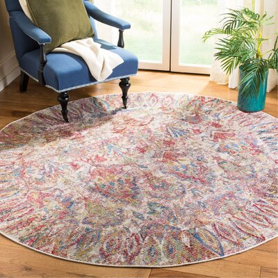 Macdonald Light Gray/Rose Area Rug Rug Size: Round 7