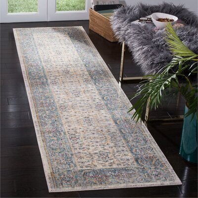 Soren Cream/Light Blue Area Rug Rug Size: Runner 23 x 8